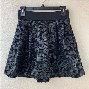 {Express} Black Faux Leather and Lace Skirt